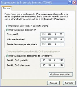 Configuración TCP-IP